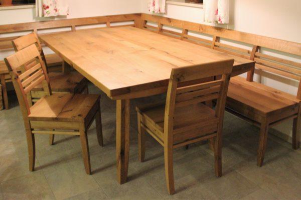 Eckbank und Tisch Eiche Astig