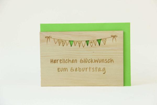 Zirbenholzkarte Herzlichen Glückwunsch zum Geburtstag