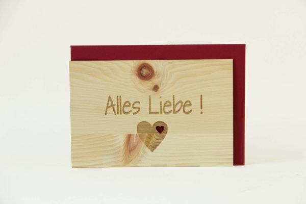 Zirbenholzkarte Alles Liebe