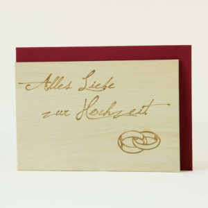 Zirbenholzkarte Alles Liebe zur Hochzeit