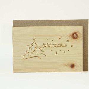 Zirbenholzkarte Ein Frohes und gesegnetes Weihnachtsfest