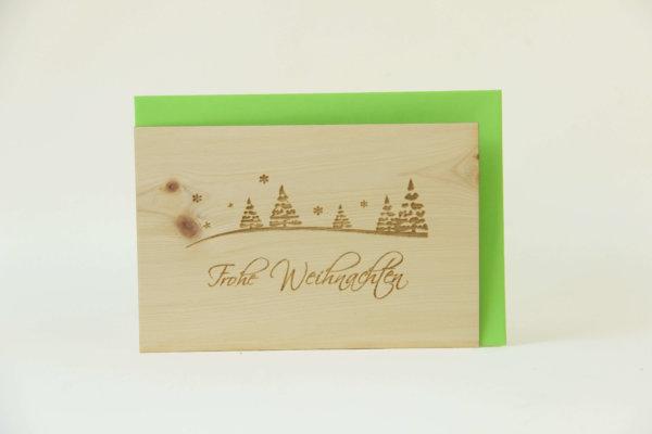Zirbenholzkarte Frohe Weihnachten Bäume