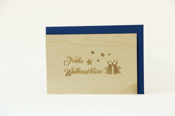 Zirbenholzkarte Frohe Weihnachten Sterne Blau