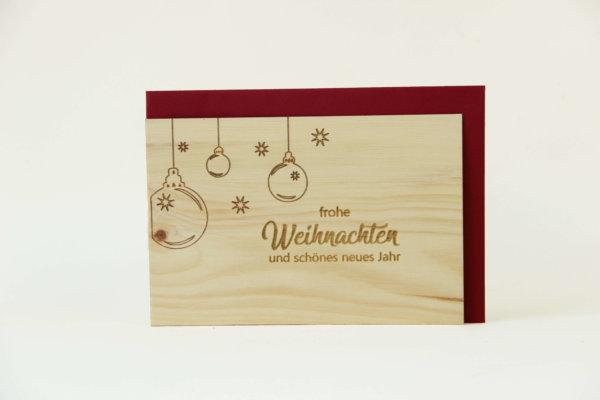 Zirbenholzkarte Frohe Weihnachten und ein gesundes neues Jahr