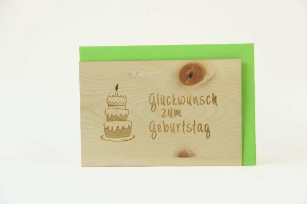 Zirbenholzkarte Glückwunsch zum Geburtstag
