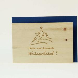 Zirbenholzkarte Schöne und besinnliche Weihnachtszeit