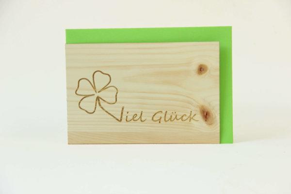 Zirbenholzkarte Viel Glück