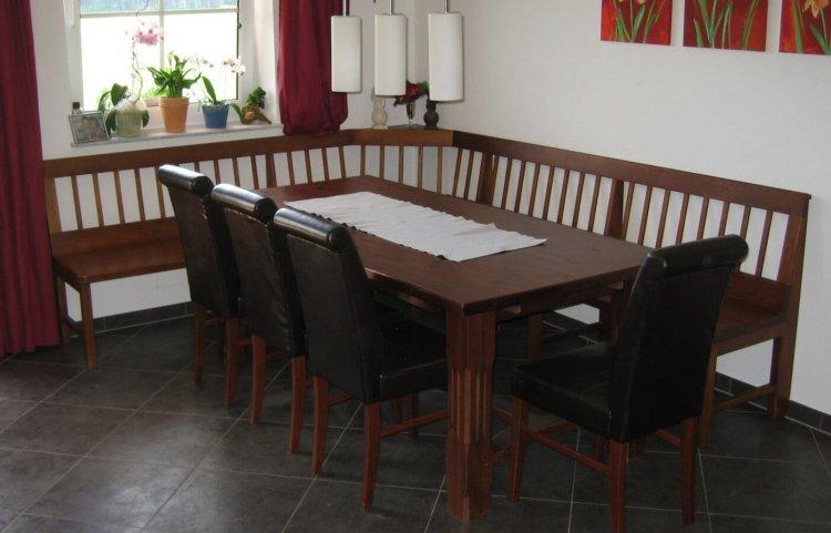 Eckbank Tisch und Stühle Kiefer gebeizt