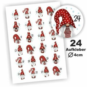 24 Zahlen Aufkleber Wichtel rot